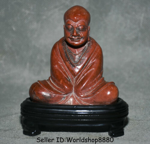 "4.8"" China Natural Red Shoushan Stone Carving Arhat Rohan Luohan Buddha Statue"
