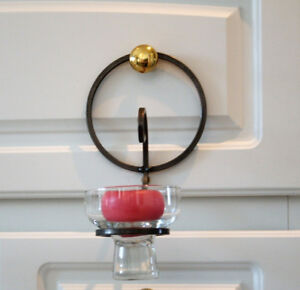 "PEWTER & GLASS CANDLE WALL SCONCES  9"" x 5 1/2""  4/$25"