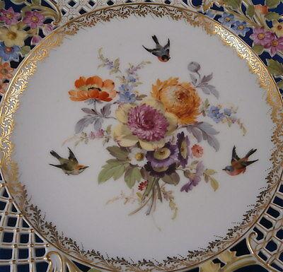 Antique 19thC Meissen Porcelain Reticulated Plate Count Bruehl Porzellan Teller
