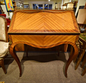VINTAGE BRASS MOUNTED DROP FRONT DESK FROM SPAIN AT CHARMAINE'S