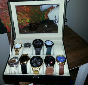 Black Leather Watch Display Case