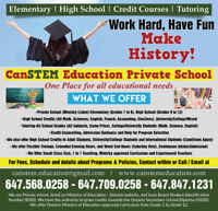 HIGH SCHOOL TUTORING & Credit Courses-Ministry approved, 1 to 1