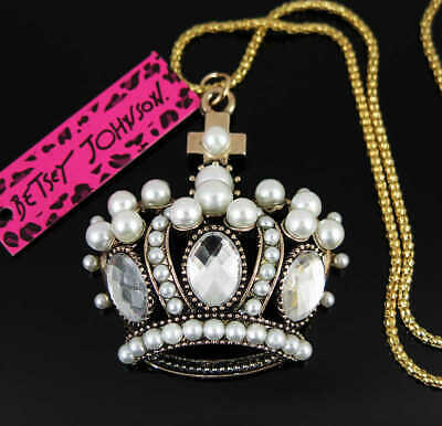 Betsey Johnson Crystal shiny Crown Pendant Sweater Chain Necklace