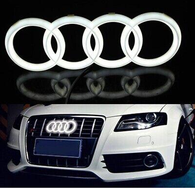 Audi A1 A3 A5 Quattro A6 A7 Q5 Q7 Chrome WHITE LED Light Front Grill Emblem 28cm