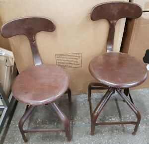 metal chairs, pair - rusted style