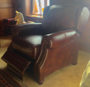 genuine leather recliner, new