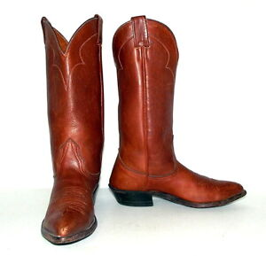 brown leather nocona cowboy boots womens size 5 5 c wide