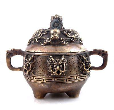 9 Dragons Incense Burner - Vintage Brass Crafted Tripod Incense Burner 9 Dragons Dragon Hangles Dragon Lid