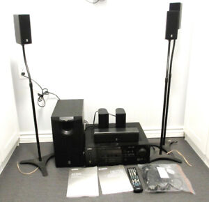 YAMAHA RECEIVER WITH SURROUND SOUND SPEAKERS - WORKS GREAT