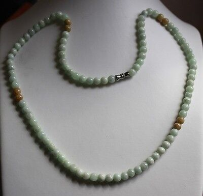 "100% Natural (Grade A) Untreated Jadeite JADE Beads Necklace 6mm 21"" #N073"