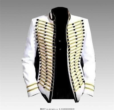 Hot Michael Jackson Bad Cosplay Costume Men's MJ White Jacket Perform Party Coat - Mj Bad Costume