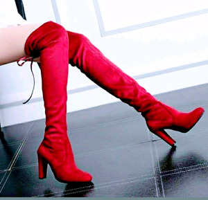 BRAND NEW! Red Thigh High Boots - Size 6.5\7 - $45