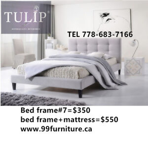 █♣█TULIP BRAND NEW LIGHT GREY LINEN FABRIC BED~TOP SPECIAL!