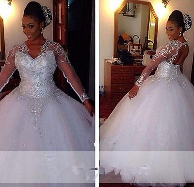 Plus Sizes Long Sleeve Wedding Dresses Bling Crystal Bead Bridal Gowns Custom ()