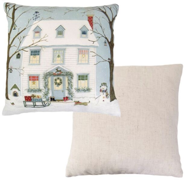 """FILLED EVANS LICHFIELD CHRISTMAS SNOW HOUSE SNOWMAN RED MADE IN UK CUSHION 17"""""""