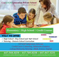 Private school credit courses Brampton, Mississauga,Min.approved