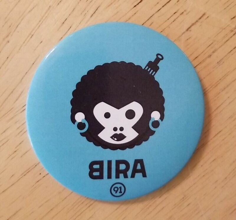 Vintage Bira button Pin #91 African American Afro Hair pick comb design blue htf