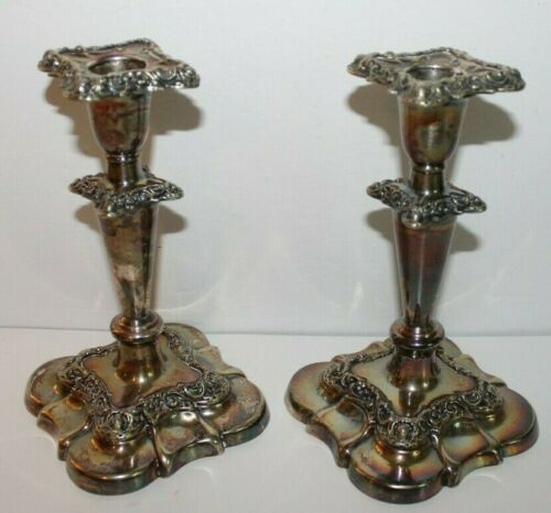 """Vintage Pair Fancy Gorham Silver Plate Candlesticks with Inserts No. 20702. 7"""" T"""