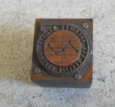 Vintage American Society Quality Cont Wood Metal Letterpress Print Block Stamp