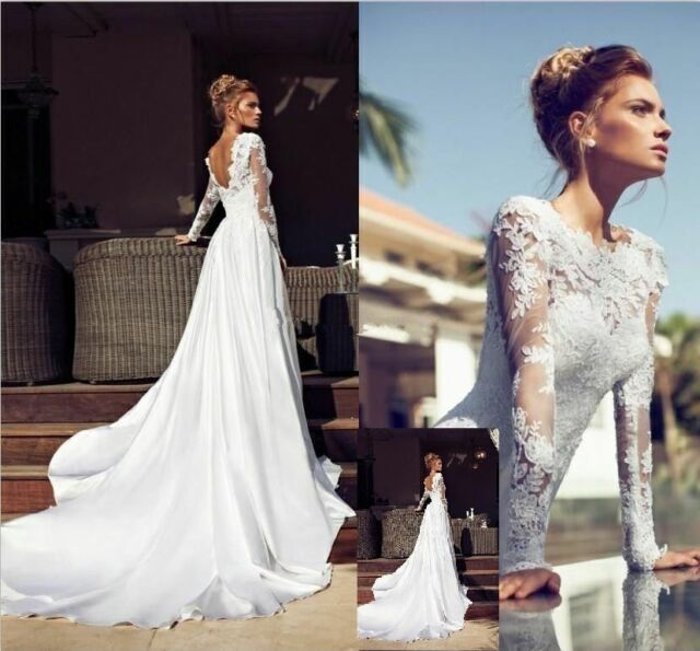 New Long Sleeve Lace Wedding Dress Bridal Gown Custom Size 4 6 8 10 12 14 16 18+