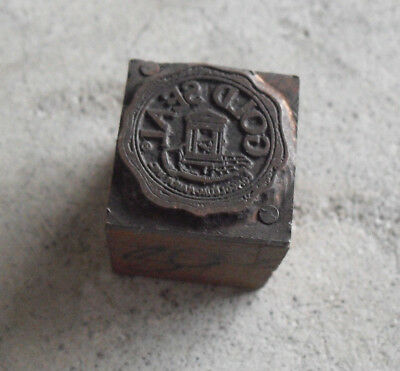 Vintage Gold Seal Logo Wood Metal Letterpress Print Block Stamp