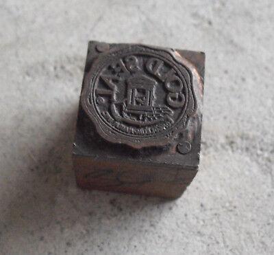 Vintage Gold Seal Logo Wood Metal Letterpress Print Block Stamp