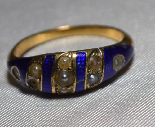 Early Victorian Solid 14K Gold Blue Enamel & Pearl Ring Hallmarked 1854 Andover