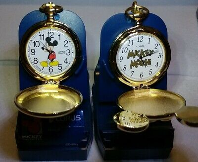 Disney 2 Lorus Mickey Mouse Pocket Watches Vintage Complete Mint In Boxes