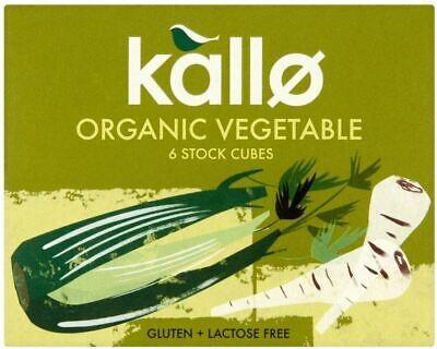Kallo Organic Vegetable 6 Stock Cubes - 66g (Pack of 3)