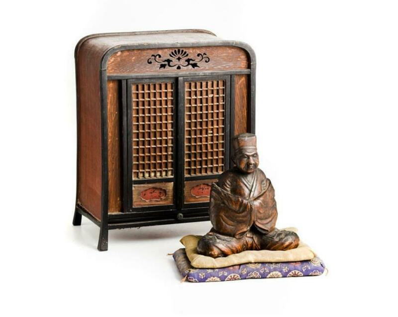 Japanese Old Edo Period Rikyu Wooden Statue / H 21[cm]  Tea Ceremony kettle
