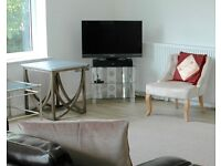 """32"""" Sony Bravia Television and Chrome and Clear glass John Lewis stand"""
