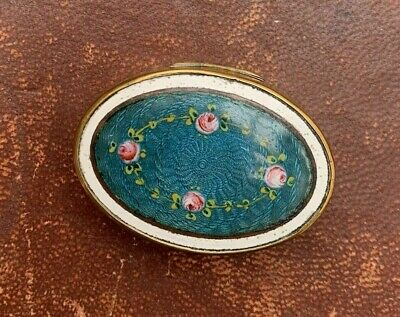 An antique patch box with guilloche enamel lid