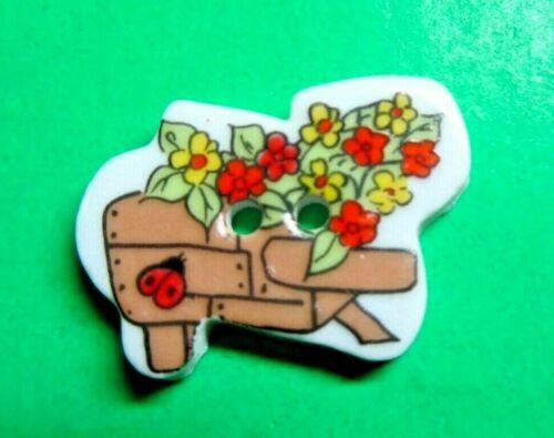 "(1) 1 1/8"" LADYBUG FLOWER GARDEN CART CERAMIC 2-HOLE BUTTON (B316)"