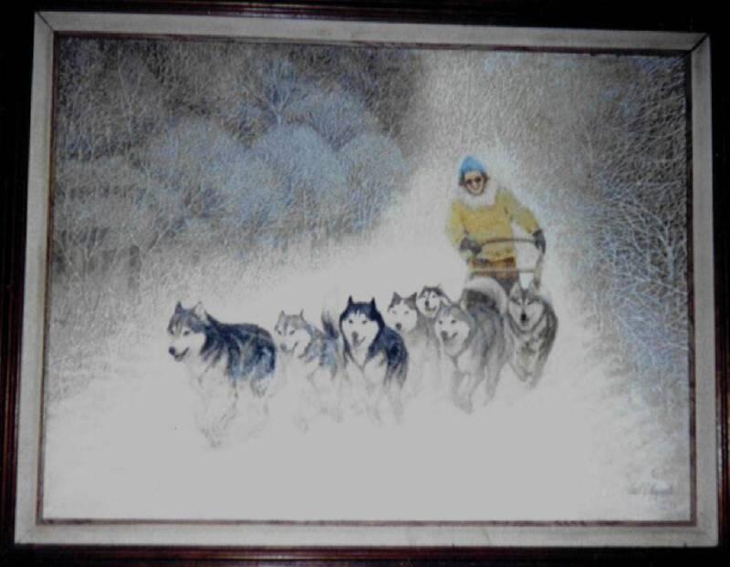 SIBERIAN HUSKY DOG SLED TEAM ART PRINT 11 X 14 picture