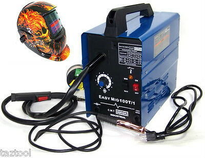 Flux Wire Welder Machine Mig100 90 Amp Flame Auto Darkening Helmet Welder Mask
