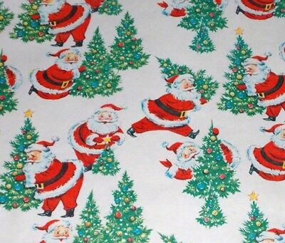 VTG CHRISTMAS WRAPPING PAPER GIFT WRAP 1950 SANTA CLAUS TREE NOS SO CUTE