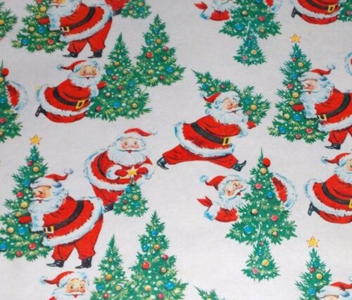 VTG CHRISTMAS WRAPPING PAPER GIFT WRAP 1950 SANTA CLAUS TREE NOS SO CUTE