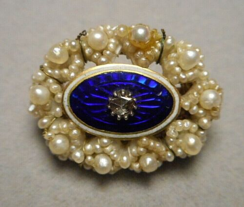 Tiny Antique Georgian Seed Pearl Cobalt Enamel Rose Cut Diamond Oval Brooch Pin