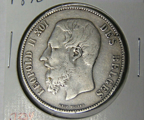 1870 Belgium 5 Francs Silver Crown Circulated ASW 0.7234 oz (51720)