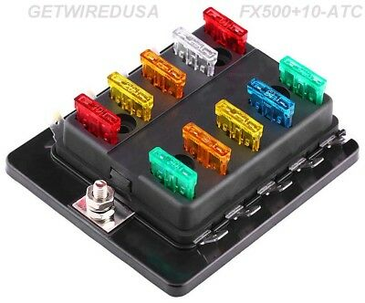 10-WAY ATC AUTO FUSE HOLDER BOX 1 IN 10 OUT POWER DISTRIBUTION PANEL WITH FUSES