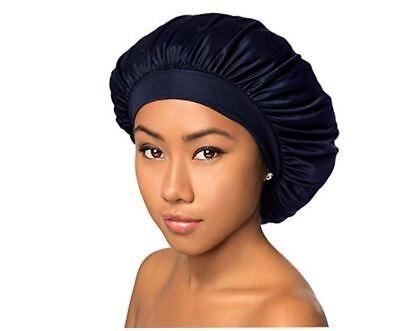 Best Navy Wide Band Satin Hair Bonnets Cap For Sleeping Kids Girls Women Hair