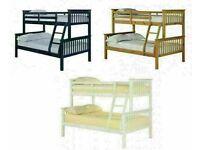 HUGE PRICE DROP 30% OFF IN BEST WOODEN BUNK BED SINGLE TOP DOUBLE BOTTOM TRIO BED FRAME