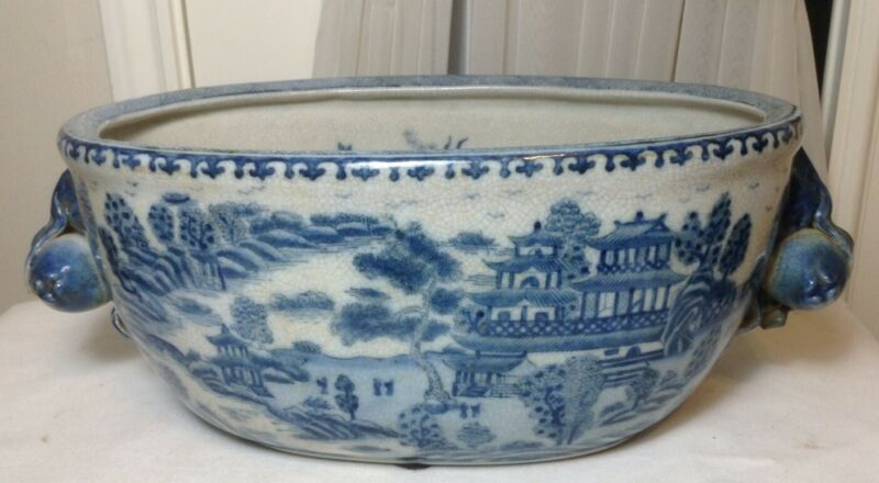 "Large 17"" Old Chinese Blue & White Oval Porcelain Pot W/ Peach & Flower Handles"