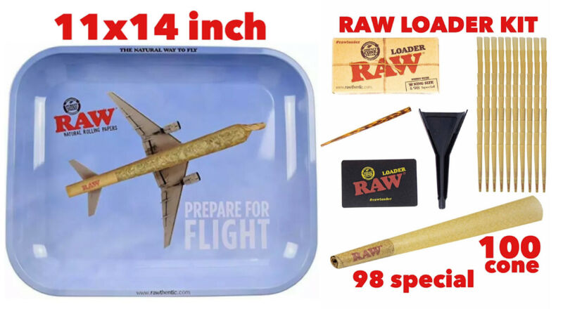 raw metal tray(FLIGHT)LARGE+raw 98 special size cone(100 pack)+cone loader kit