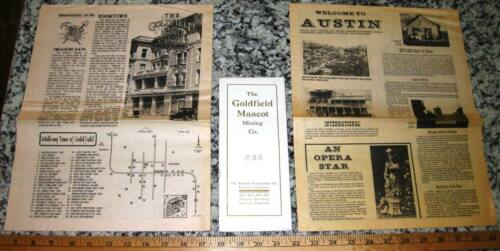 2 Old Mining Camp Newspapers + GOLDFIELD MASCOT PROSPECTUS Austin, Nevada 1907