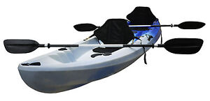 Double Kayak Sit-on Kayak with 2 Padded Seats & Paddles (Blue White) Twin Kayak