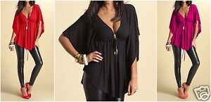 Sexy-Batwing-V-Neck-Tunic-Top-8-10-12-14-MADE-IN-EU-quick-dispatch-352
