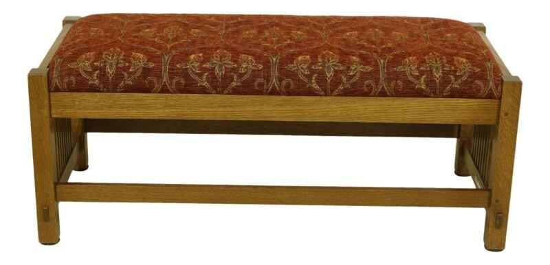 52378EC: STICKLEY Mission Oak Arts & Crafts Window Bench