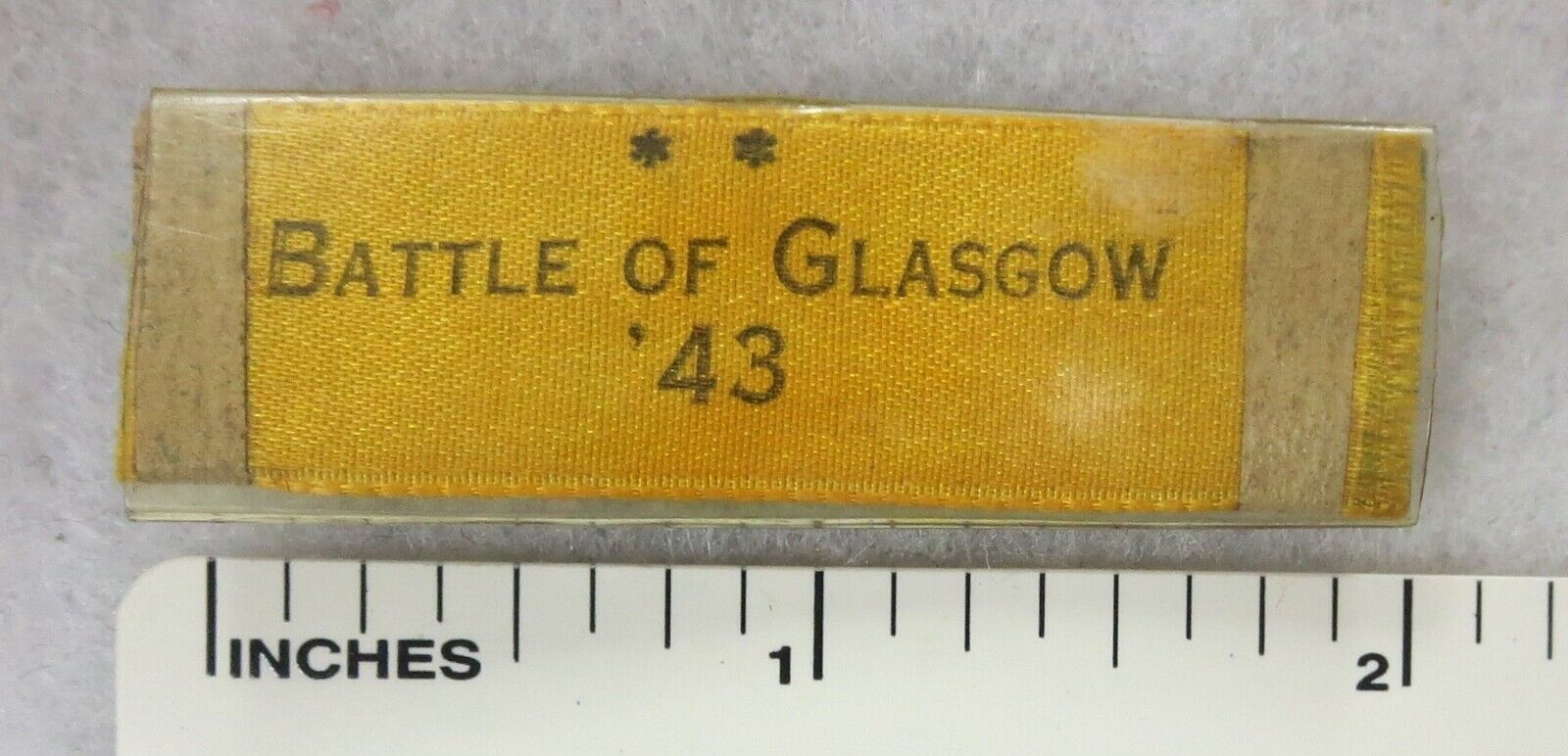 BATTLE Of GLASGOW 1943 Original WW2 G.I. Made Souvenir Of Service Novelty Ribbon - $19.95