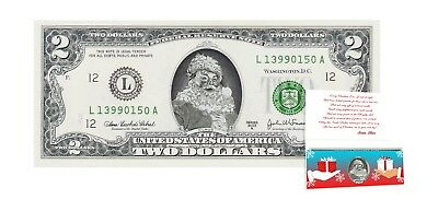 Santa Claus Dollar $2 Bill w/ Greeting Card Christmas Stocking Stuffer. Real USD
